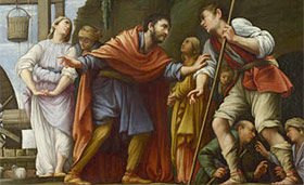 Moses defending the daughters of Jethro by Carlos Saraceni, 1609AD