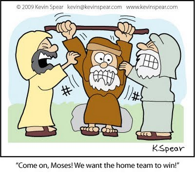 Speartoons depicting Exodus 17:12