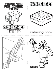 Free Download: Mini Minecraft Coloring Book with Cutting Lines