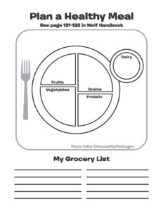 Wolf Scout Worksheet: Plan A Healthy Meal - Jessica's Corner ...